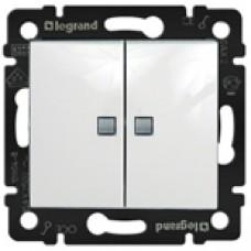 Выключатель двухклавишный LEGRAND с подсветкой белый