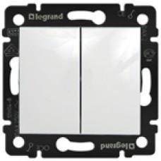 Выключатель двухклавишный LEGRAND белый